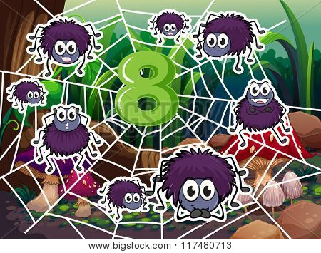 Eight spiders around number eight