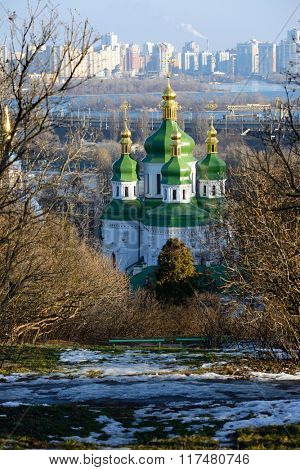 View of the Vudubickiy church and the left bank of the Dnieper