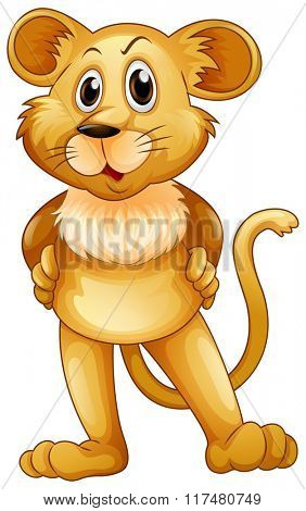 Cute lion baby standing illustration
