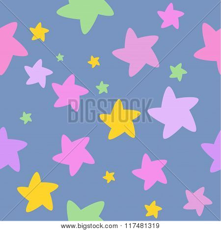 Starry night, Colorful stars background, Seamless background Seamless pattern