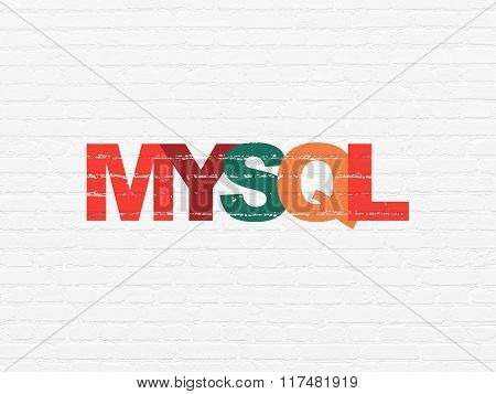 Programming concept: MySQL on wall background