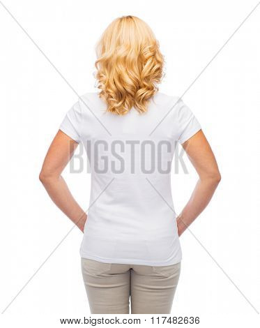 advertisement, clothes and people concept - woman in blank white t-shirt from back