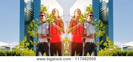 Woman and man running and jogging in city, mirrored image