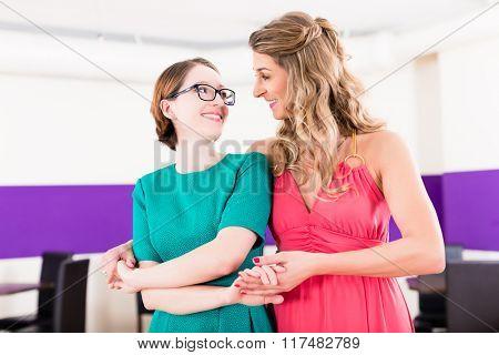 Lesbian couple having dancing class