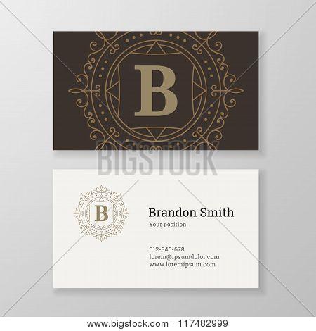 Business Card Monogram Emblem Letter B Template Design.