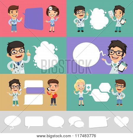 Set of a Speaking Cartoon Doctors