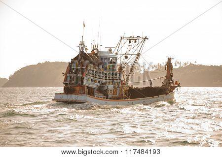 Fishing Boat In Ocean. Thailand