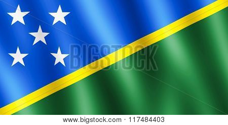 Flag Of Solomon Islands Waving In The Wind