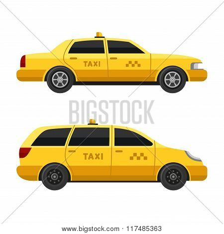 Yellow Taxi Cars Set on White Background. Vector