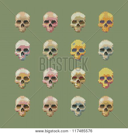 Vector set of stylized skull on a green background isolated.