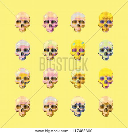 Vector set of stylized skull on a yellow background isolated.