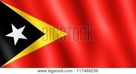 Flag Of Timor-leste Waving In The Wind