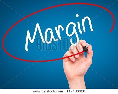 Man Hand Writing Margin With Black Marker On Visual Screen