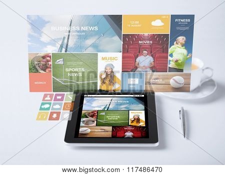 business, mass media and technology concept - tablet pc computer with internet news application cup of coffee