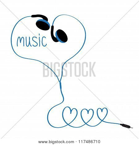 Earphones And Blue Cord In Shape Of Three Hearts. Word Music. White Background. Isolated. Flat Desig