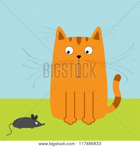 Cute Red Orange Cartoon Cat Looking At Mouse. Big Mustache Whisker. Funny Character. Sky And Grass.