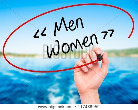 Man Hand Writing Men - Women With Black Marker On Visual Screen