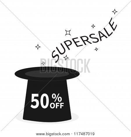 Magic Hat. Supersale Tag. Sale Background. Big Sale.  Special Offer. 50 Percent Off. Flat Design. Is