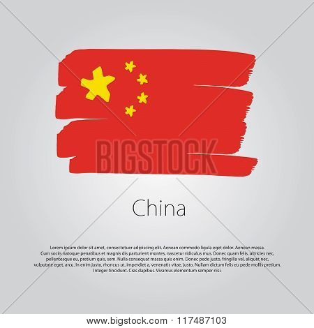 China Flag With Colored Hand Drawn Lines In Vector Format