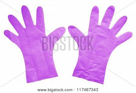 Plastic Gloves Isolated - Violet