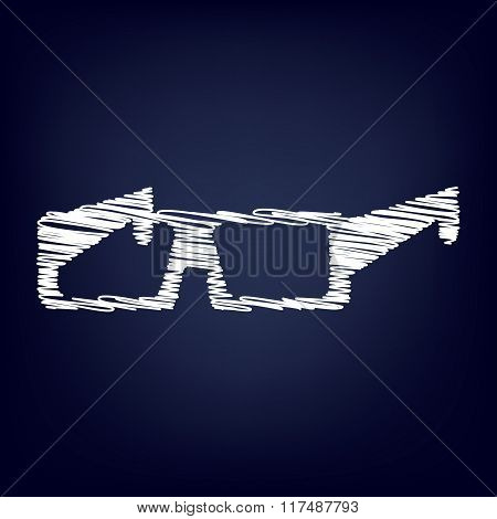 Glasses icon with chalk effect.