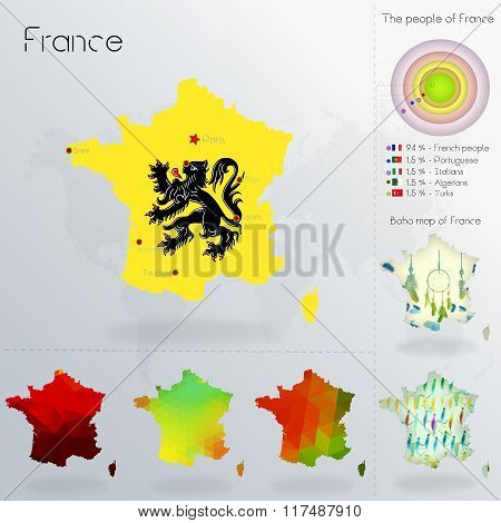 Modern Geometric And Political Map Of France. Flemish People Immigration To France. Flemish People D