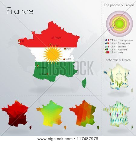 Modern Geometric And Political Map Of France. Kurds Immigration To France. Kurds Diaspora In France.