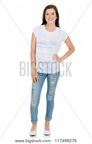 beautiful teen girl in casual clothes isolated on white background