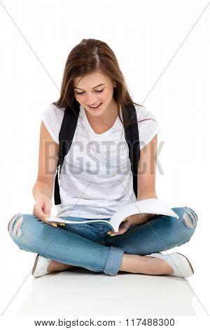 female college student reading a book isolated on white background