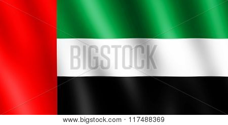 Flag Of United Arab Emirates Waving In The Wind