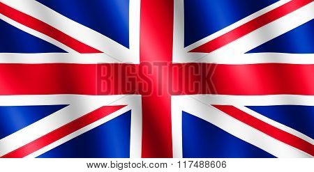 Flag Of United Kingdom Waving In The Wind