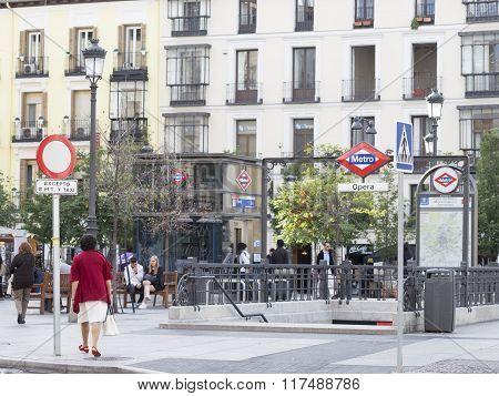 Opera Metro Station In Madrid