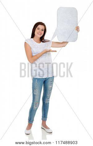 portrait of happy teen girl holding speech bubble