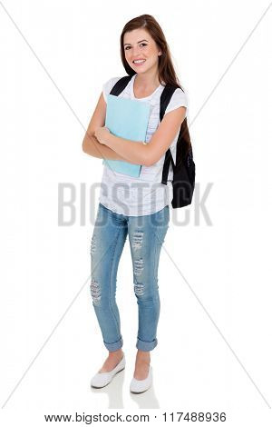 full length portrait of young female college student on white background
