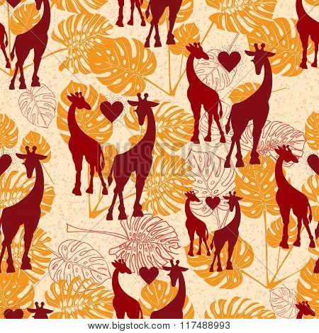 Seamless Vintage Pattern With Giraffe  And Monstera Lives
