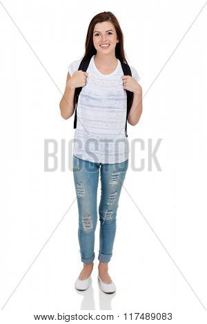 portrait of beautiful college girl standing on white background