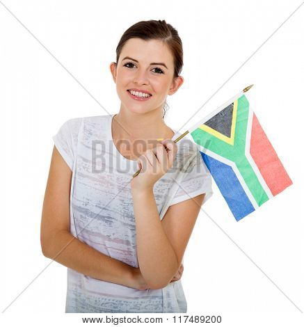 beautiful south african girl holding a flag