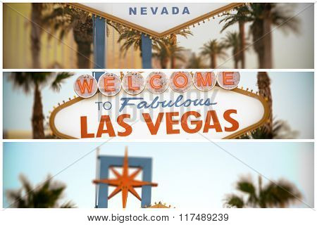 Collage of the world famous Welcome to Las Vegas sign. The Strip, Las Vegas, USA. Filtered to look like a 1970 style image.