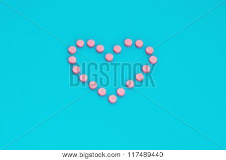 Pink Pills In Heart Shape