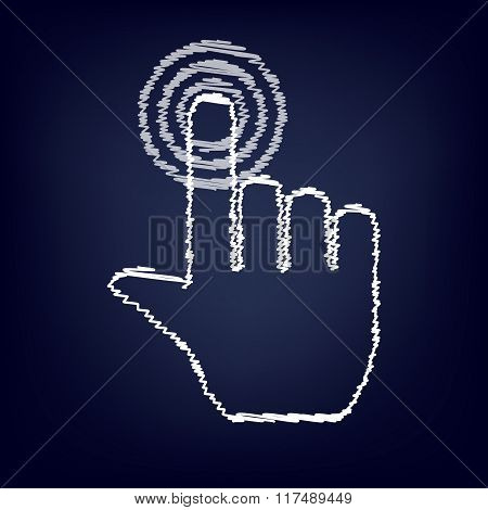 Hand icon with chalk effect