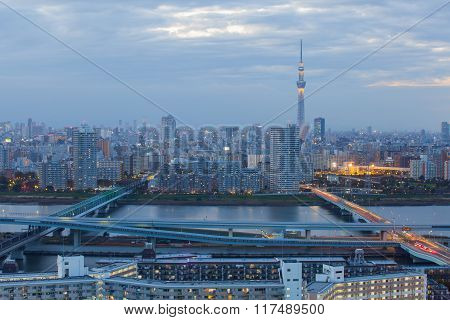 Tokyo city view and Tokyo sky tree in twilight time