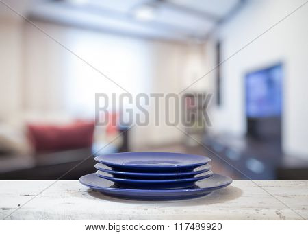plates on white table in the living room