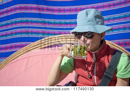 Lady Having Coca Leaves Tea, Known As