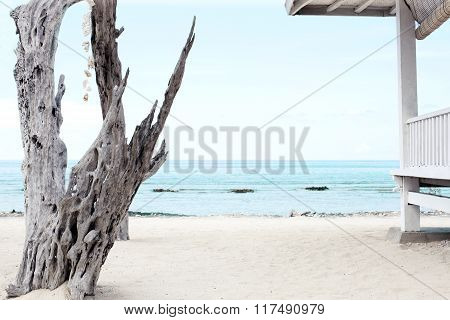 Wooden Terrace On The Beach
