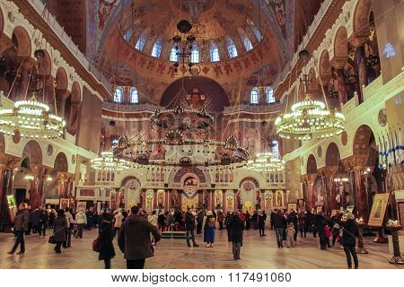 People In St. Nicholas Cathedral.
