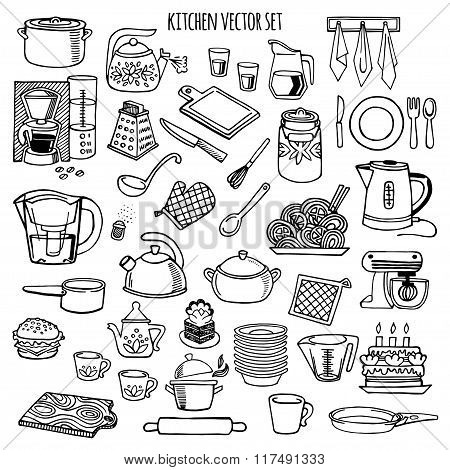 Kitchen utensils and appliance vector icons set.
