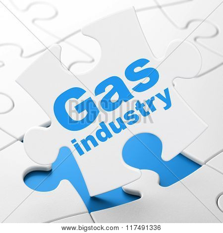 Industry concept: Gas Industry on puzzle background