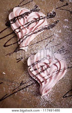 Heart meringues for Valentine´s Day