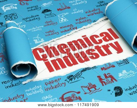 Industry concept: red text Chemical Industry under the piece of  torn paper