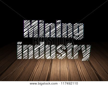 Manufacuring concept: Mining Industry in grunge dark room